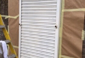 Painting of Metal Shutters in Hertford, Hertfordshire